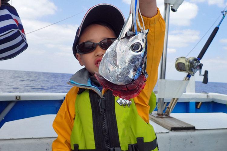 トローリングで掛かったスマガツオをイルカに横取りされ頭だけ釣り上げた魚を持っている小学生