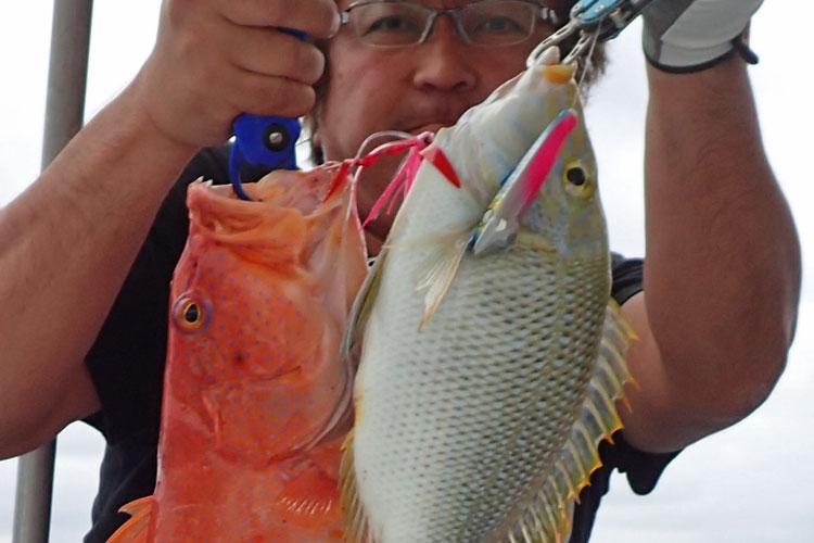 タマンとアカジンが同時に2匹インチクルアーに釣れた