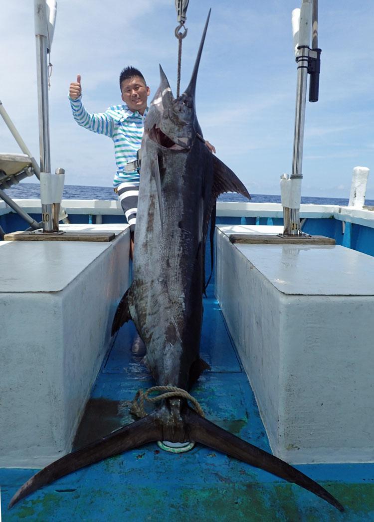 トローリングで釣れた85kgのクロカジキと男性