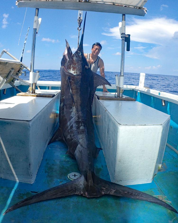 180kgカジキとトローリングで釣り上げた男性