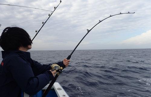 トローリングで魚を釣っている女性