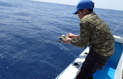 カンパチを釣っている少年