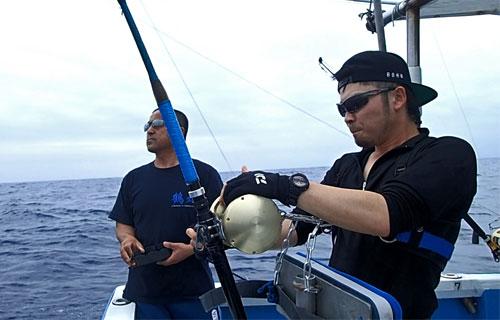 カジキとファイトしている男性と鶴丸の船長、鶴巻守