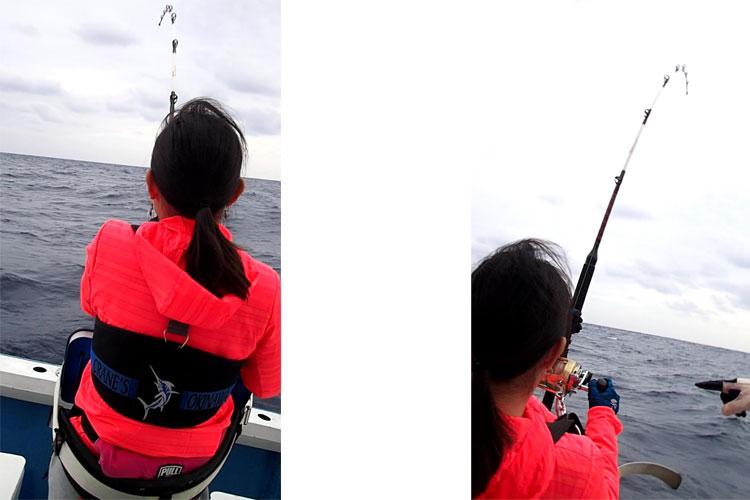 バショウカジキを釣っている女性