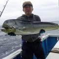 シイラと青森県からカジキ釣りに来た男性