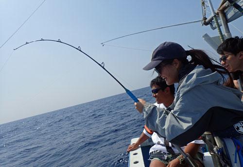 カツオを釣っている女性