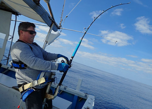 カジキを釣っているオーストラリア人の父