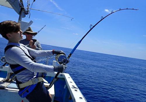 カジキを釣っている14才の息子