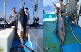 トローリングでカジキを2本釣り上げた親子