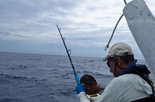180kgのカジキを釣っている最中にロッドが折れれたた