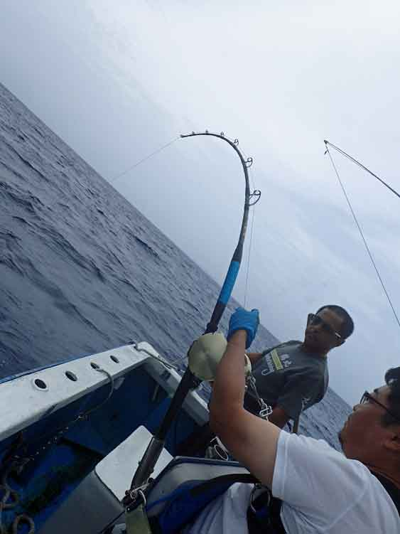カジキを釣っている男と鶴巻船長