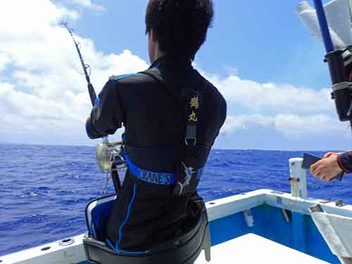 high scool student marlin fishing in okinawa japan