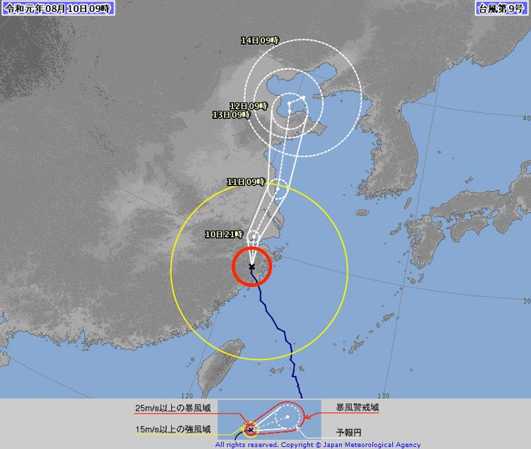 台風9号通過