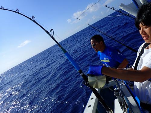 カジキを釣っている大学生