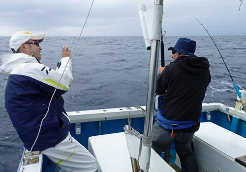シイラを釣っている男と写真撮影をしている男