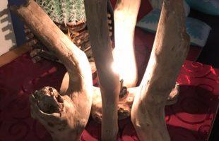 流木アート照明ライト夜