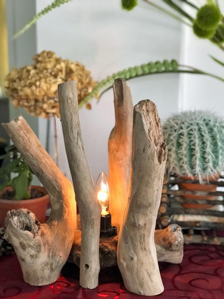 流木アート照明の昼間