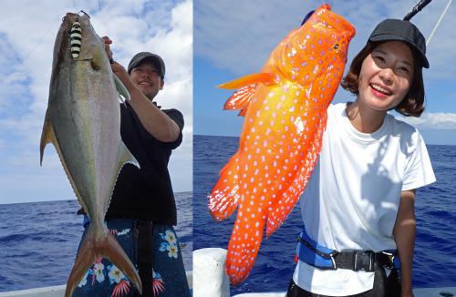 千葉県から来た若いペアがカンパチとミーバイを釣り上げた