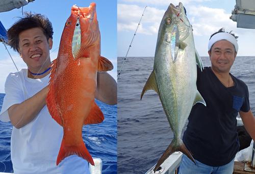 クレーンズ沖縄のjジギングで釣れたアカジンミーバイとカンパチ
