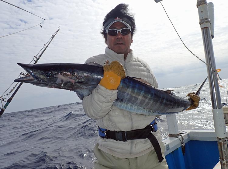 トローリングでカマスサワラを釣った男性